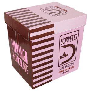 Sorvete Morango com Chocolate Damazon - Distribuidora Damazônica - 10 litros